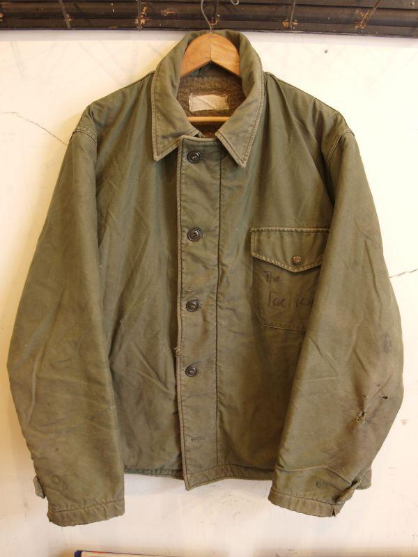 画像1: 60's US.NAVY A-2 初期型 袖ボタン デッキジャケット バックステンシル